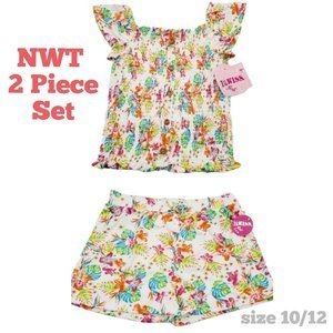 NWT 2 Piece Set White Floral Shorts + Top 10/12